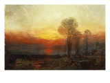 Winter Sunset - a Slide, 1850 Print by Francis Danby
