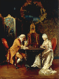 The Chess Game, 1881 Giclee Print by Johann Hamza