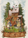 Hansel and Gretel Outside the Gingerbread House Art by Ludwig Richter