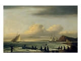 Pulling in the Nets, Teignmouth Giclee Print by Thomas Luny