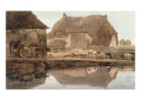 A Farmyard with Cattle and Poultry and Labourers Unloading Hay Giclee Print by Thomas Girtin