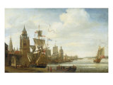 A Capriccio View of the Port of Antwerp Giclee Print by Jan Karel Donatus Van Beecq