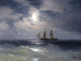 Sailing ship in the moonlight on a calm sea, 1874 Giclée-tryk af Ivan Konstantinovich Aivazovsky