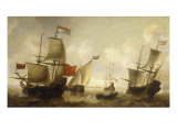 A Dutch Merchantman with a Wijdschip and other Shipping off Amsterdam Giclee Print by Jacob Adriansz Bellevois