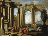 Landscape wtih Classical Ruins and St Peter Baptising Giclee Print by Alberto Carlieri