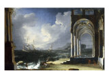 A Capriccio View with Classical Ruins by the Sea Art by Leonardo Coccorante