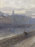 Evening on the River Liffey with St John's Church in Distance, 1905 Art by Rose Maynard Barton