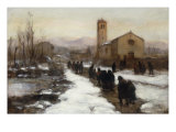 Figures by a Church in Winter Art by Vittore Antonio Cargnel