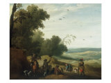 A Hawking Party halted beside the Edge of a Wood, 1629 Giclee Print by Joost Cornelisz Droochsloot