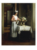 A Maid Watering Flowers Giclee Print by Franck Antoine Bail