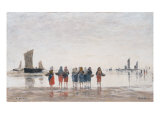 Pecheuses a Berck, 1875 Reproduction proc&#233;d&#233; gicl&#233;e par Eugene Boudin