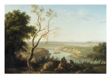 Landscape with Figures above a River Valley Giclee Print by Thomas Jones