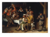 An Interior with Peasants Singing and Dancing Around a Table, 1681 Giclee Print by Lambert Doomer