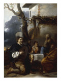 A Lutenist with Figures Drinking at a Table Giclee Print by Sebastien Bourdon
