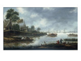 A River Estuary with Fishermen and Other Figures in Boats, the Town of Haarlem Beyond, 1675 Giclee Print by Thomas Heeremans