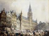 L'Hotel de Ville, Brussels Print by Samuel Prout