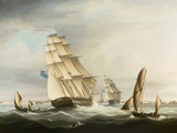 Squadron of the Blue off Portsmouth Giclee Print by Thomas Buttersworth
