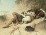 A Child Sleeping in the Sand Dunes with a Collie, 1905 Poster by Margaret Collyer