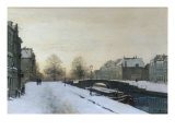 Along the Canal in Winter Reproduction procédé giclée par Johannes Karel Christian Klinkenberg