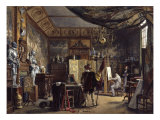 The Artist's Studio - The Painter Sketching a Model in Historical Costume Giclee Print by Louis Haghe