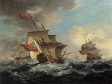 A British Man of War in a Strong Breeze with East Indiamen in the Distance Giclee Print by Peter Monamy