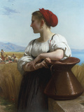 Moissoneuse' or 'L'Italienne a la Fontaine', 1868 Print by William Adolphe Bouguereau