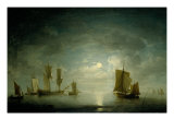 An English Frigate and Coastal Craft Becalmed by Moonlight Print by Charles Brooking