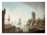 A Mediterranean Harbour Scene Posters by Alessandro Grevenbroeck