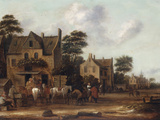 Dutch Village Scene with Figures and Horses Resting outside a House, 1660 Giclee Print by Thomas Heeremans