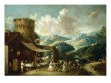Peasants Dancing in a Mountainous Landscape Prints by Antonio Diziani
