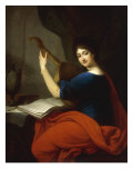 Portrait of Countess Augusta Nimptsch Playing an English Guitarre, 1800 Giclee Print by Joseph Grassi