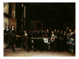 Group Portrait of Academicians in Picture Gallery, with a Self-Portrait of Artist on Right Giclee Print by Gillis van Tilborgh