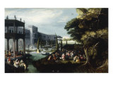 A Fete Galante in the Gardens of a Palace with Figures Merrymaking Giclee Print by Louis de Caullery