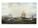 Shipping in the Straits of Gibraltar, 1875 Giclee Print by Wilhelm Melbye