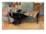 Suzanne at the Clavier' or 'The Scales' Giclée-Druck von Carl Larsson
