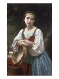 Bohemienne au Tambour de Basque, 1867 Giclee Print by William Adolphe Bouguereau