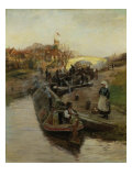 Narrowboatman at a lock (barges at a lock), 1888 Giclee Print by Charles William Wyllie