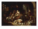A Kitchen Interior with a Servant Girl Receiving Mussels from a Young Man Giclee Print by Jan van Buken