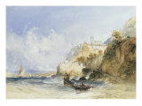 Fishermen Casting off on the Banks of an Italian Lake, 1841 Prints by William Callow