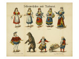 Figures of Snow White and Rose Red Prints by Neuruppiner Bilderbogen