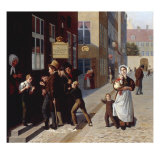 Outside the Lottery, Copenhagen, 1836 Giclee Print by Julius Friedlander