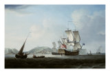 A Two Decker and Other Shipping off Dover Prints by Thomas Mellish