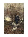 The Goose Maiden-Brittany, 1881 Affiches par Alfred Edward Emslie