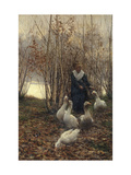 The Goose Maiden-Brittany, 1881 Prints by Alfred Edward Emslie