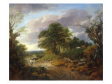 A Wooded Landscape with Peasants in a Country Waggon Art by Thomas Gainsborough