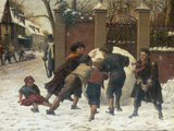 Playing in the Snow, 1875 Art by Herbert William Weekes