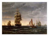 Shipping in a Choppy Sea, 1850 Giclee Print by Wilhelm Melbye