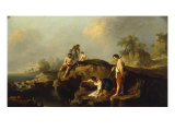 Pastoral Landscape with Figures and Cattle Giclee Print by Francesco Zuccarelli