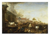 A Cattle Market by a Canal on the Edge of a Dutch Town Posters by Cornelis Saftleven