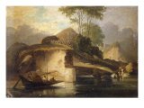 Chineses River Landscape with a Boat and Natives Gathering Water Posters by George Chinnery